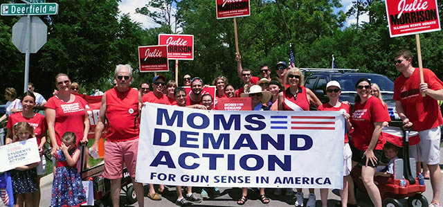 Julie with a group of gun control advocates at a parade